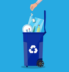 Recycle bin for garbage full of glass things vector