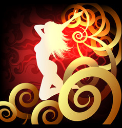 silhouette of runnig woman on fantasy background vector image vector image