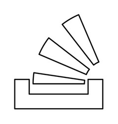 stacking in the tray black icon vector image