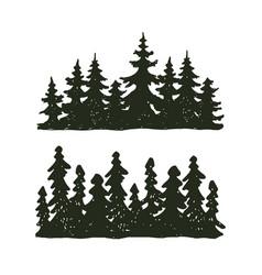 Tree outdoor travel black silhouette coniferous vector