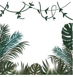Tropical poster with tropical leaves and flowers vector