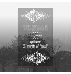 Vintage forest background with tribal style frame vector