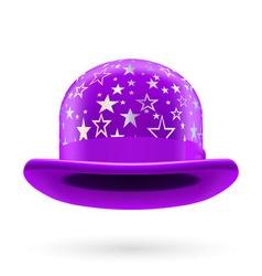 Violet starred bowler hat vector