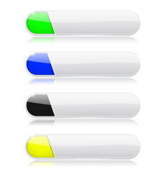 White oval menu buttonswith shiny colored tags vector