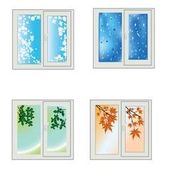 Window seasons vector image vector image