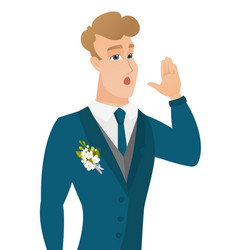 Young caucasian groom calling for help vector