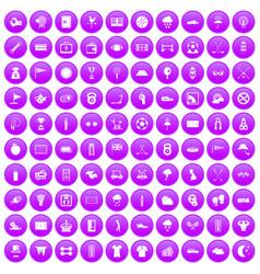 100 golf icons set purple vector