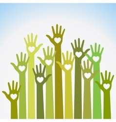 Green caring up Volunteers hands hearts icon vector image
