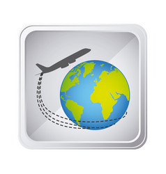 emblem planet earth with a plane close up icon vector image