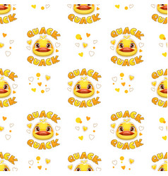 seamless pattern with funny duck faces vector image