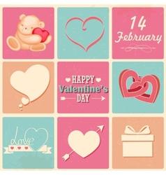 Retro Happy Valentines Day Background vector image