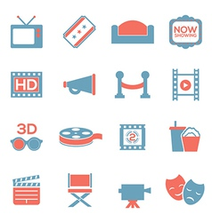 Cinema icons duotone vector