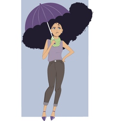 Frizzy hair in rain vector
