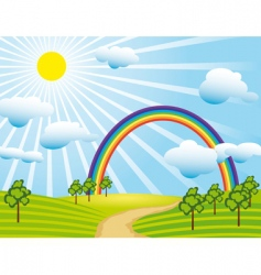field road and a rainbow vector image