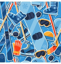 Winter sports seamless pattern with equipment vector