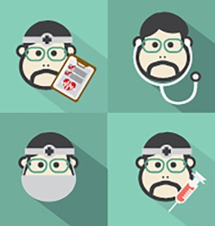 Flat design doctor icon with long shadow effect vector