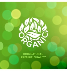 Organic food label on green background vector