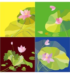 Set of lotus flower background vector