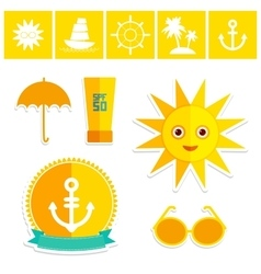 Set of summer vacation beach umbrella sun ship vector