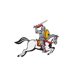 Knight sword shield steed attacking cartoon vector