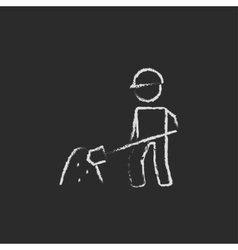 Man with shovel and sand icon drawn in chalk vector