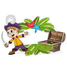 Pirate with a treasure chest vector