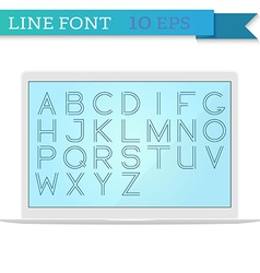Mockup of laptop and thin line font inside latin vector