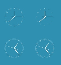 Set of 4 modern watches white round dials on blue vector