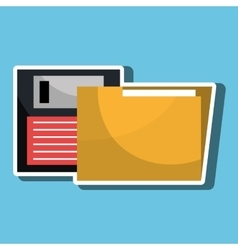 Floppy disk with folder isolated icon design vector