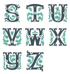 Vintage alphabet part 3 vector