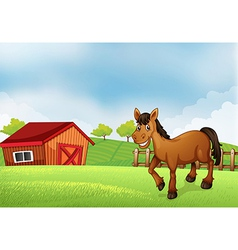 A horse at the farm with a barn at the back vector image vector image