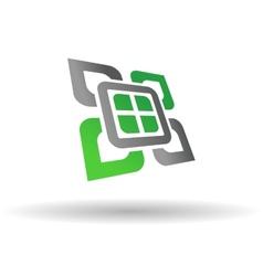 Abstract green and grey symbol vector image vector image