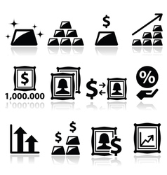 Alternative investments - investing money in gold vector