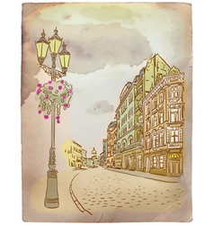 Antique european street vintage post card vector