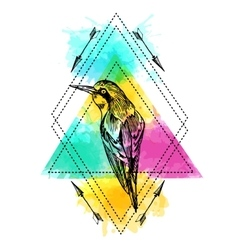 Bird and watercolor vector