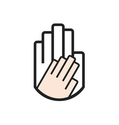 Black line hand symbol holding smaller hand sign vector
