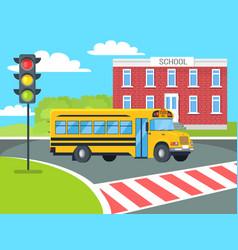 Bus stops before pedestrian near school building vector