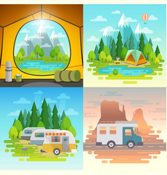 Camping concept tent caravan house on weels vector
