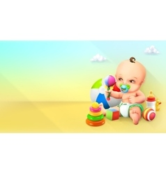 Child and toy vector image