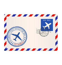 Envelope with istanbul turkey postmark vector