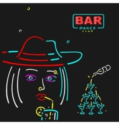 Girl in The Bar vector image