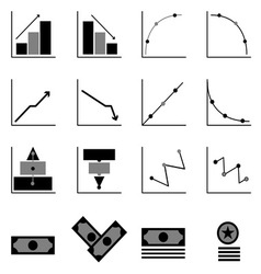 Graph and money icons on black background vector image