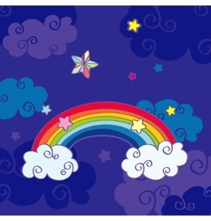 Hand drawn cartoon rainbow and clouds night sky vector