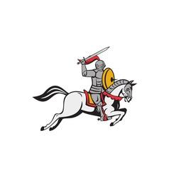 Knight Sword Shield Steed Attacking Cartoon vector image