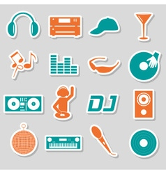 music club dj color simple stickers set eps10 vector image