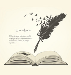 old feather with flying birds and open book vector image vector image
