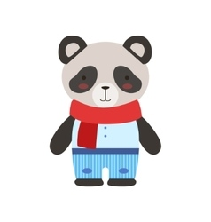 Panda in red scarf and blue pants cute toy baby vector