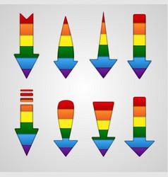 Rainbow arrows lgbt community flag colors vector
