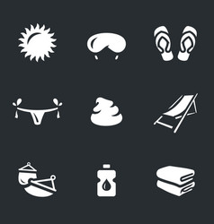 set of beach holidays icons vector image