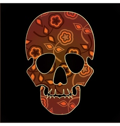 skull with colorful flowers on black background vector image